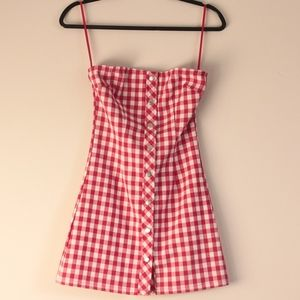 Honey Punch Plaid Strapless Dress